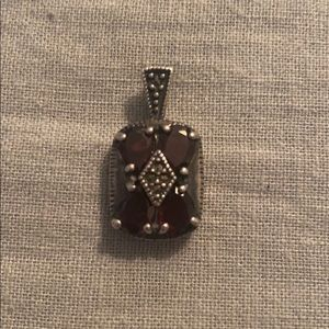 Jewelry - Sterling s marcasites and garnet stone pendant